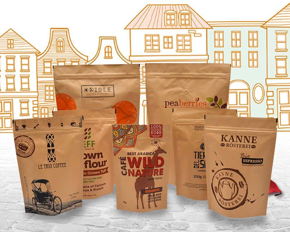 Sachets pour café, de différentes tailles et en craft, conçus par Swisspac.