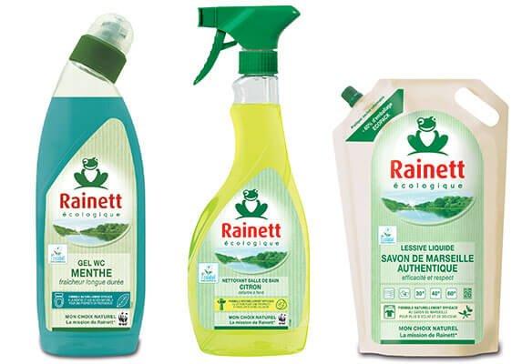 Photo des emballages Rainett : une bouteille de gel WC menthe, un spray nettoyant pour salle de bain au citron et une recharge de lessive liquide au savon de Marseille.